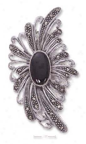 Genuine Silver 10 X 16mm Onyx Marcasite Bursting Flower Pin