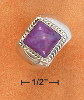 Sterling Silver 10mm Square Magenta Stone Ring Rope Border