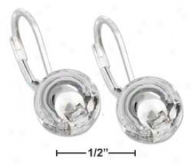 Sterling Silver 10mm Stationary Ball Earrings With Leverback
