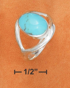 Sterling Silver 10x13mm Oval Turquoise Cabochon Ring