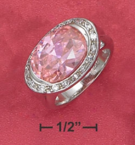 Sterling Silver 10x14mm Pink Side Oval Ring Pavee Border