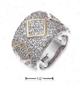 Genuine Silver 11mm Pave Cz Slightly Tapered Ring