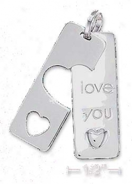 Sterling Silver 11x30mm I Love You Tag Pendant
