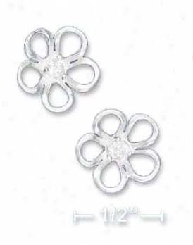 Sterling Silver 1/2 In. Flower Post Earrings Clear Cz Center