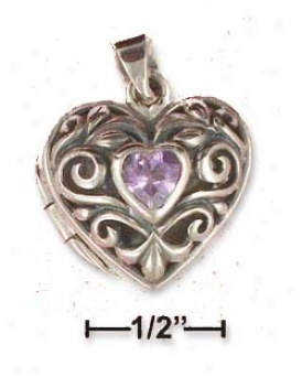 Sterling Silver 12mm Filigree Heart Locket Pendant