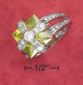 Sterlihg Silver 12mm Green Apple Cz Ring