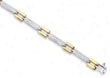 Sterling Silver 14k Diamond Matt Finish Bracelet - 7.25 Inch