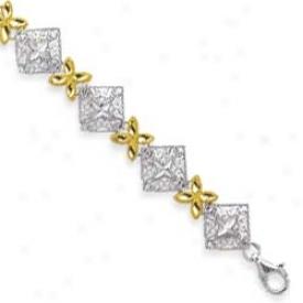 Sterling Silver 14k Filgree Flower Squafe Bracelet - 7.25 In