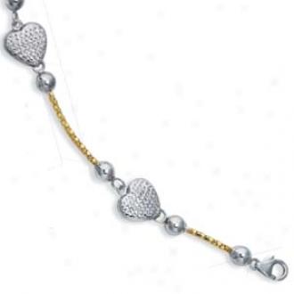 Sterling Silver 14k Heart Pearl Station Bracelet - 7.5 Inch