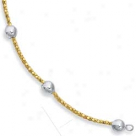Sterling Silver 14k Pearl Shape Station Bracelet - 7.25 Inch