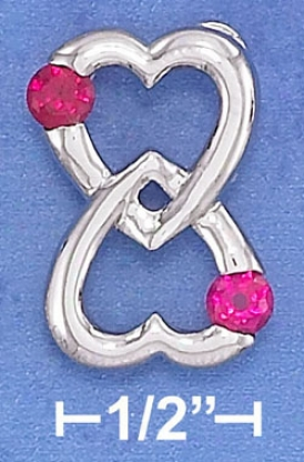 Sterling Silver 15mm Double Heart Love Forever Pendant
