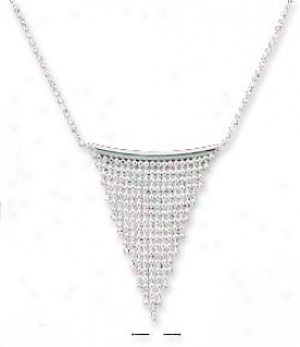 Sterling Silver 16 Inch Beaded Waterfall On Bar Necklace