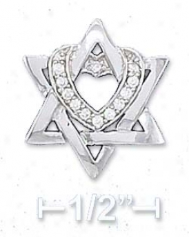 Sterling Silver 16 X 18mm Star Of David Pendant Cz Heart