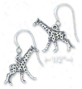 Sterling Silvery 16x17mm Antiqued Running Giraffe Earrings