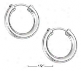 Sterling Soft and clear  17mm Endless 3mm Round Stock Hoop Earrings