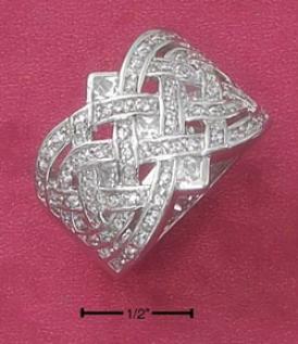 Sterling Silver 17mm Fancy Open Woven Cz Company Ring