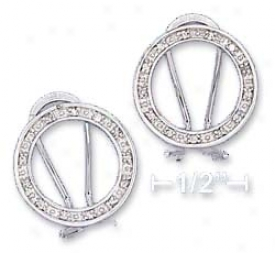 Sterling Silver 17mm Open Circle Cz Post Earrings
