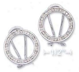 Sterling Silver 17mm Open Circle Cz Post Earrings