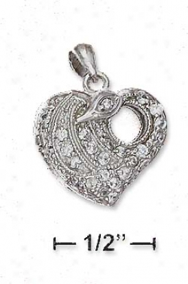 Sterilng Silver 17mm Pave Cz Heart Locket Pendant 5mm Hole