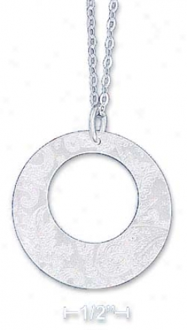 Sterling Silver 18 Inch Pendant Chain Circle Ear-ring