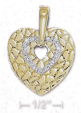 Sterling Silver 18 Inch Vermeil 12m Cz Open Heart Necklace