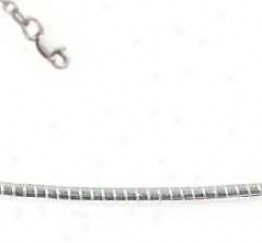 Sterling Silver 18 Inch X 1.0 Mm Round Omega Necklace