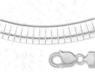 Sterling Silver 18 Inch X 8.0 Mm Omega Necklace