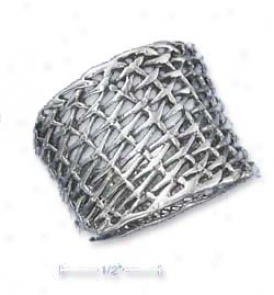 Sterling Silver 18mmD iagonal Weave Tapered Band Ring