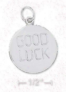 Sterling Silver 18mm Round Good Luck Disk Charm