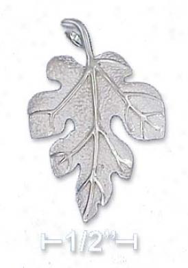 Genuine Silver 19x29mm Oak Leaf Psndant Sandbpasted Finish