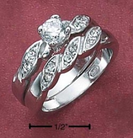 Sterling Silver 2 Enlarge Set 4.5mm Circuit Cz Twistrd Pave Ring
