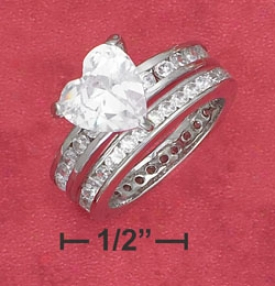 Sterling Silver 2 Piece Womens 9mm Heart Shape Cz Ring
