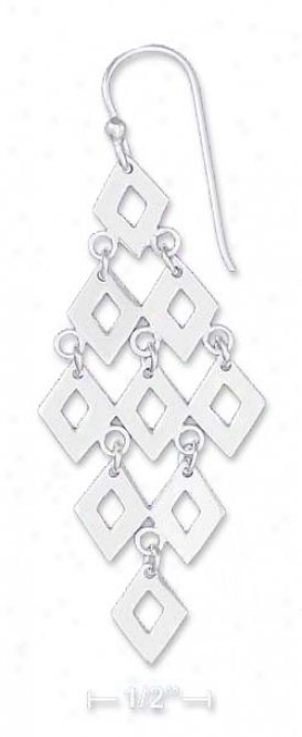 Sterling Silver 2.5 Inch Diamond Image Mesh Dangle Earrings