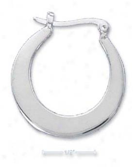 Sterling Silver 25mm Round Flat Hoop Earrings French Locks