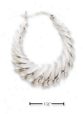 Sterlin gilver 25x30mm Scalloped Hoop French Lock Earrings