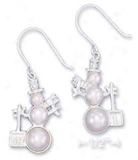 Sterling Silver 26mm Triple Pearl Snowman Earrings