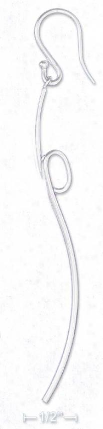 Sterling Silver 2.75 In Elongated Curved Thread Loop Earrings