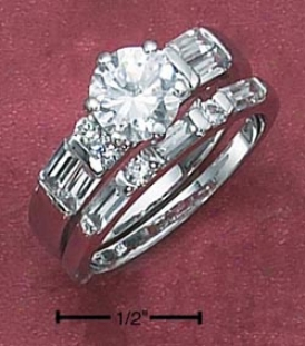 Sterling Silvery 2pc Set 7mm Cz With Bag Czs Baguette Cz Ring