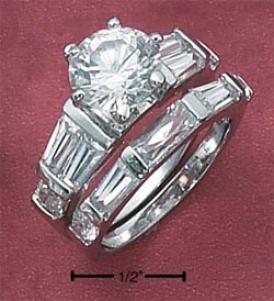 Sterling Silver 2pc Set 9mm Round Cz Baguettes Baguetge Ring