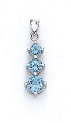 Sterling Silver 3-blue Topaz Pendant
