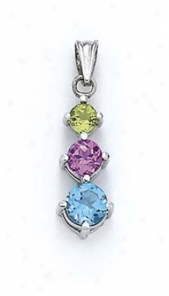 Sterling Silver 3-stone Multi-gem Chandelier