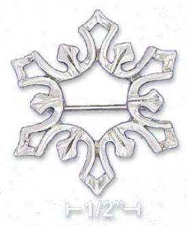 Sterling Silver 31mm Diameter Modern Snowflake Design Pin