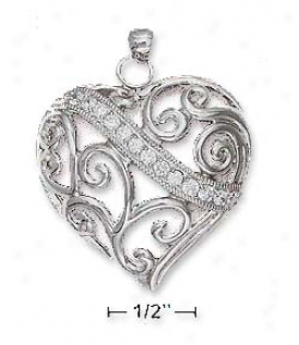 Sterling Silver 32mm Filigree Heart Pendant With Cz Banner