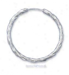 Sterling Silver 34mm Diamond Engraving Twisted Hoop Earrings