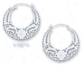 Sterling Silver 35mm Lacy Filigree Crescent Hoop Earrings