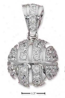 Sterling Silver 3d Large Cz Basketball Pendant