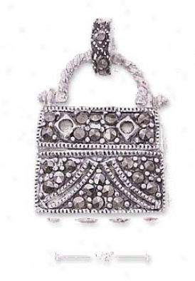 Strrling Silver 3d Marcasite Purse Fascinate