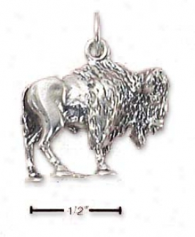 Sterling Silver 3d Standing Bison Charm