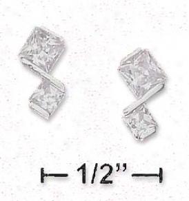 Sterling Silver 3mm 4mm True Prinxess Cut Cz Post Earrings