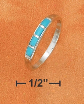 Sterling Silver 3mm Tapered Domed Band Ring Turquoise Inlay